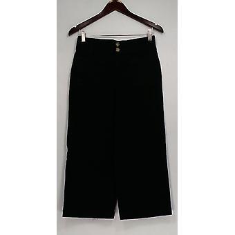 Denim & Co. Pantaloni Allungare Twill Wide Leg Cropped w / Tasche Nero A307961