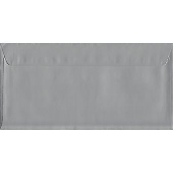 Seal/metallic zilver Peel DL + gekleurde zilveren enveloppen. 130gsm luxe FSC gecertificeerd papier. 114 mm x 229 mm. portemonnee stijl envelop.