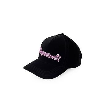 DSQUARED2 BLACK VELVET PINK SEQUINS BASEBALL CAP