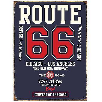 Route 66 College Style Steel Sign    (rh)