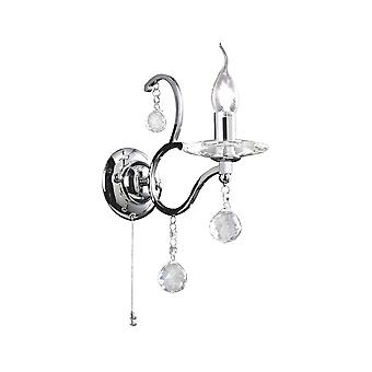 Diyas Zinta Wall Lamp Switched 1 Light Polished Chrome/Crystal