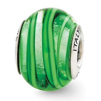 925 Sterling Argent Poli Antique finition Réflexions Vert vert italien Murano Glass Bead Charm