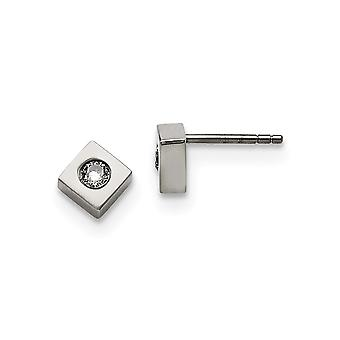 Stainless Steel Brushed Cubic Zirconia Polished Diamond Shaped Post Earrings