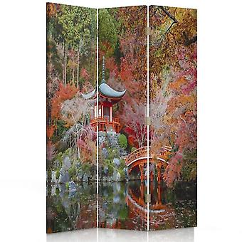 Room Divider, 3 Panels, Single-Sided, Canvas, Garden In The Japanese Style