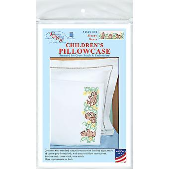 Children's Stamped Pillowcase W/White Perle Edge 1/Pkg-Sleepy Bears 1605 892