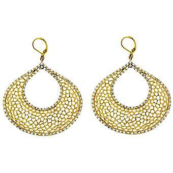 Kenneth Jay Lane Gold Filigree & Crystal Chandelier Clip On Earrings