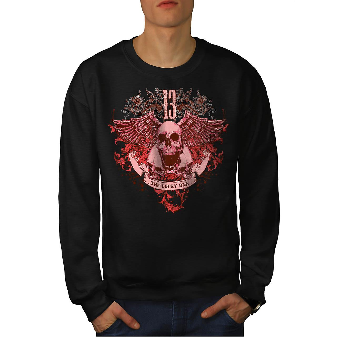 13 The Lucky One Skull Men Black Sweatshirt | Wellcoda