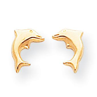 14k Gold Small Dolphin Earrings - .3 Grams - Measures 8x6mm