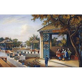 Chinese Ladies Playing Mahjong In The Pavilion of a House Poster Print by Chinese School