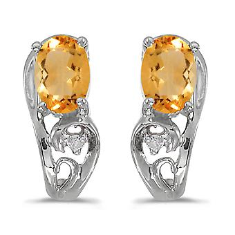 10k Citrine ovale or blanc et diamants boucles d'oreilles