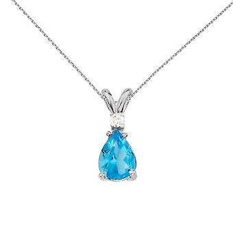 14k White Gold Pear Shaped Blue Topaz and Diamond Pendant with 18