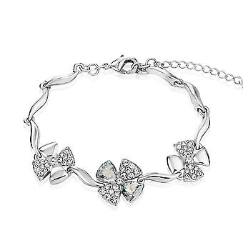Platinum Plated Swarovski Elements Ice Blue Flower Bracelet, 17cm