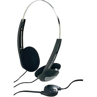 Headphone Basetech CD-1000VR On-ear Volume control, Light-weight headband Black