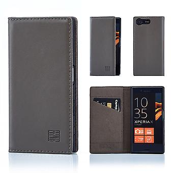 32nd Classic Real Leather Wallet for Sony Xperia X Compact - Elephant Grey