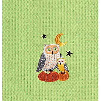 Harvest Moon Owls Perched on Pumpkins Green Waffle Weave Kitchen Dish Towel