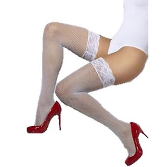 Smiffys Fishnet Hold-Ups White Lace Tops With Silicone (Kostuums)