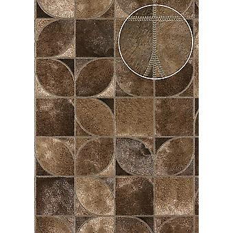 Embossed wallpaper Atlas SKI-5068-5 non-woven wallpaper minted in coat patterns shimmering brown brown beige sepia Brown olive brown 7,035 m2