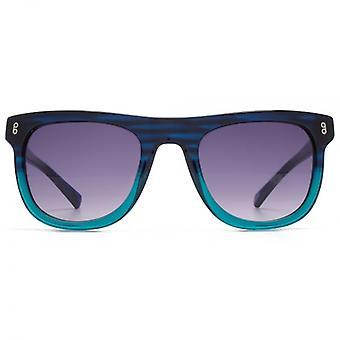 Hook LDN Latitude Chunky Wayfarer Acetate Sunglasses In Blue To Turquoise Gradient