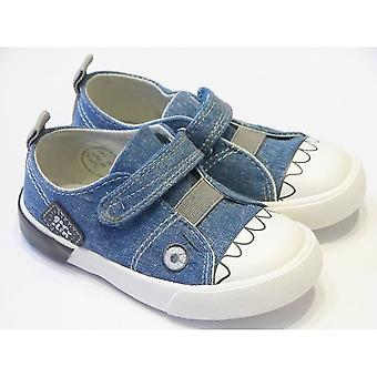Garvalin Boys Light Denim Canvas Shoes With Monster Theme