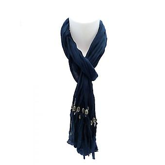 W.A.T Soft Blue Cotton Crinkled  Beaded Tassel Scarf