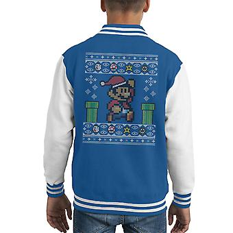 Christmas Super Mario Pixel Knit Kid's Varsity Jacket