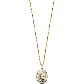 Elements Gold Exquisite 9ct Gold Pave Diamond Oval Leaf Locket - Clear/Gold