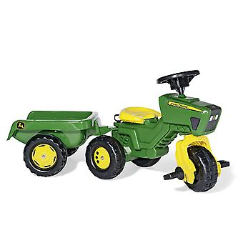Licensed Ride On John Deere Tractor with Trailer Trio Trac Green Rolly