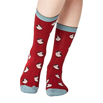 Robin women's super-soft bamboo crew sock in cranberry   By Thought