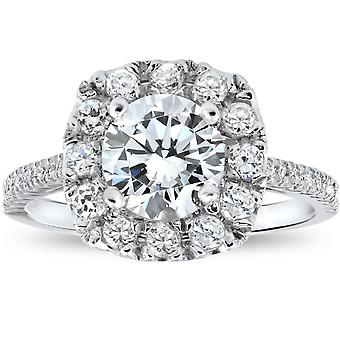 2 1/2CT Round Cut Diamond Solitaire Engagement Ring Gold Enhanced Halo