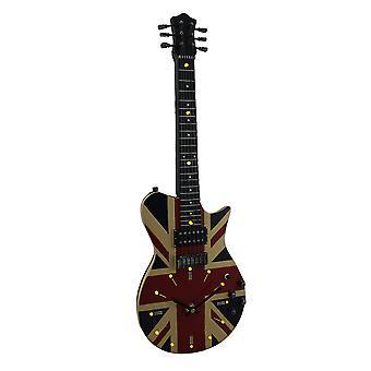 Perlerekkefølgen tid Union Jack britiske flagg 16 LED gitar Wall klokken 21 i.
