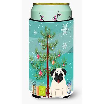 Merry Christmas Tree Pug Cream Tall Boy Beverage Insulator Hugger