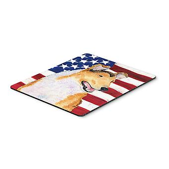 USA American Flag with Collie Smooth Mouse Pad, Hot Pad or Trivet