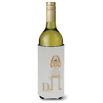 Alfabet D voor hond wijnfles Beverge isolator Hugger