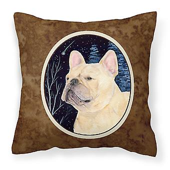 Starry Night French Bulldog Decorative   Canvas Fabric Pillow