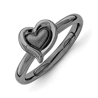 2.25mm Sterling Silver Ruthenium plating Stackable Expressions Black-plated Heart Ring - Ring Size: 5 to 10