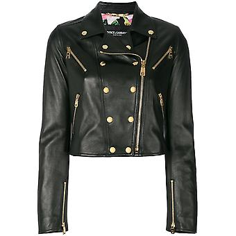 Dolce E Gabbana women's F9829LFUL89N0000 black leather jacket