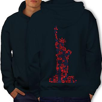 New York Statue Freedom Men NavyHoodie Back | Wellcoda