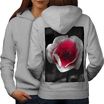 Foto naturaleza mujeres GreyHoodie respaldo flor roja | Wellcoda