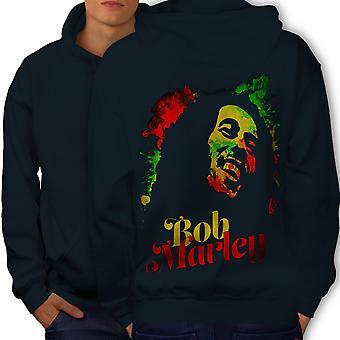 Marley Bob Weed Rasta Men NavyHoodie Back | Wellcoda
