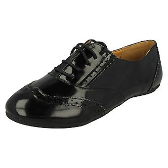 Ladies Spot On Flat Lace Up Brogue Shoe F8658