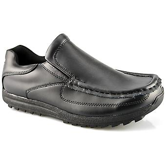 Mens New Coated Leather Slip On Smart Office Work School Formal Shoes