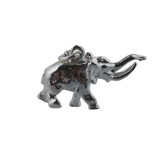 Silver 10x20mm tusker Elephant Charm on a lobster trigger