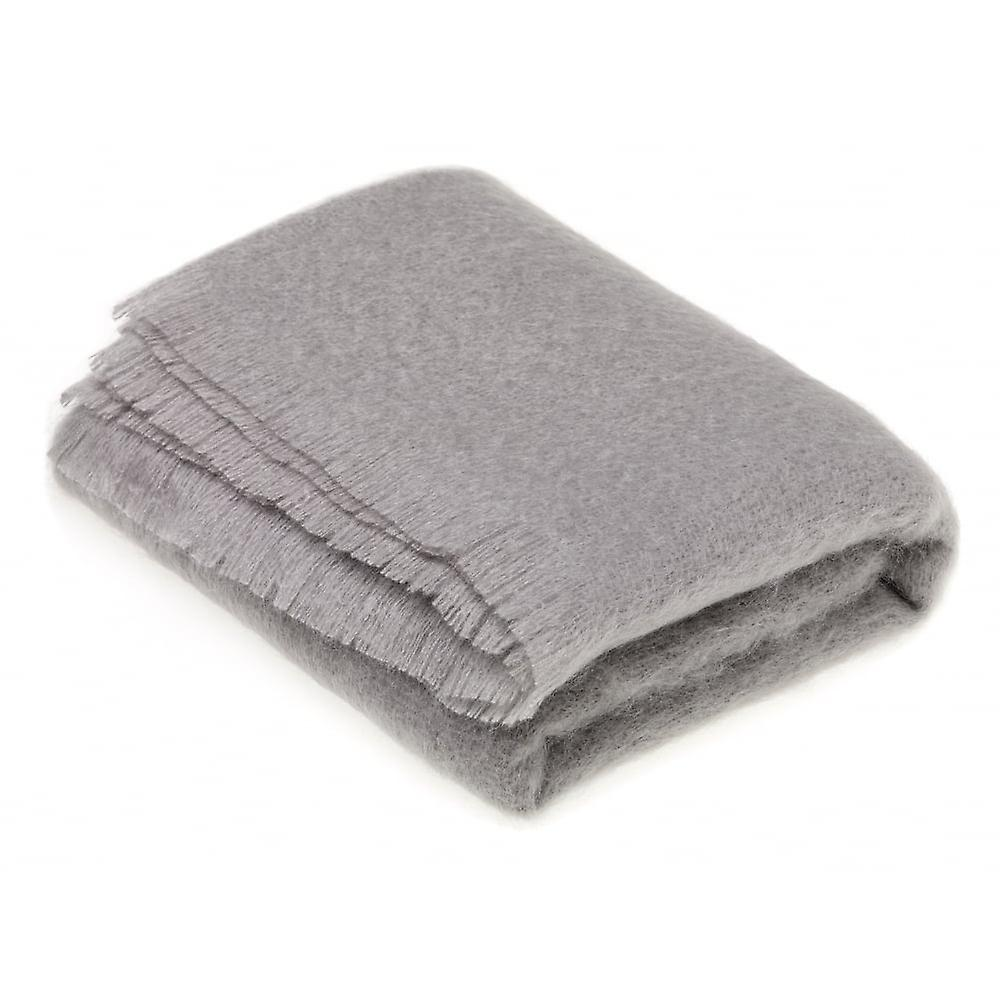Bronte By Moon Luxury Mohair Throw - Slate Grey