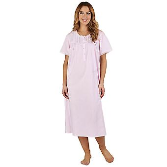 Slenderella ND1271 Women s Lace and Pintucks Pink 100% Cotton Night Gown  Loungewear Short Sleeved Nightdress 5993a307f
