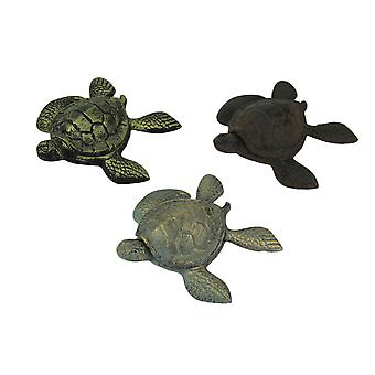 Set of 3 Cast Iron Brown Blue Brass Turtle Trinket Boxes