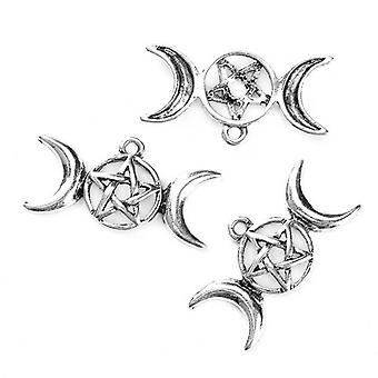 5 x Antique Silver Zinc Alloy 15x29mm Pentagram Wicca Pagan Charm/Pendant Y09670