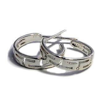 Sterling Silver Rhodium Plated Ancient Greek Key Hoop Earrings, Diameter 16mm