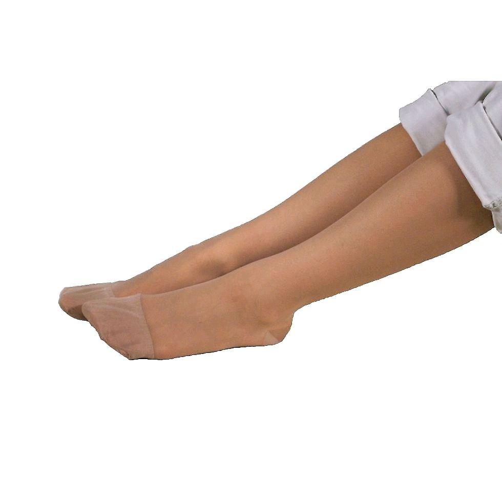 Pebble UK Wide Calf Sheer Support Knee Highs [Style P16W] Nude  L