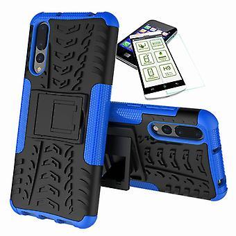 Für Huawei P20 Hybrid Case 2teilig Blau + Panzerglas Tasche Hülle Cover Hülle