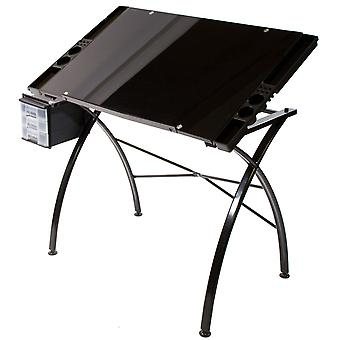 Dezign Line Drawing Table W/Black Glass Top-